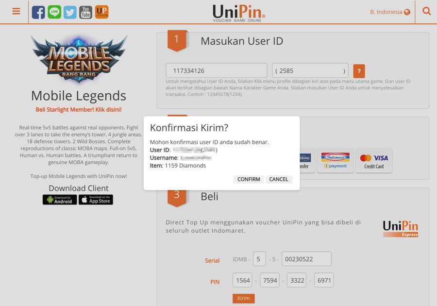 Konfirmasi Pembelian Unipin