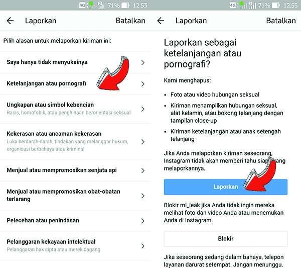 Report Akun Instagram Beserta Kirimannya