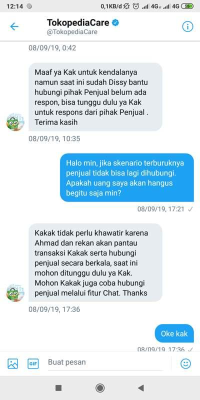 Respon TokopediaCare