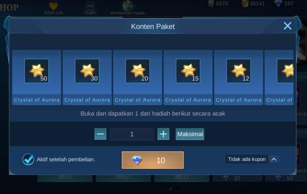 Suplai Harian Crystal of Aurora