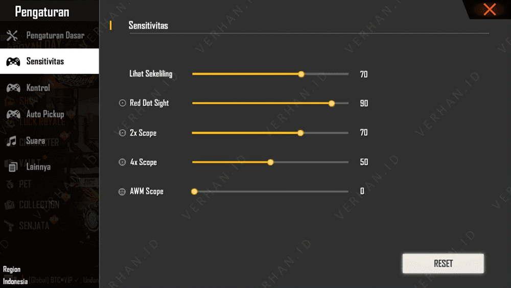 Sensitivitas FF Auto Headshot HP INFINIX Terbaru